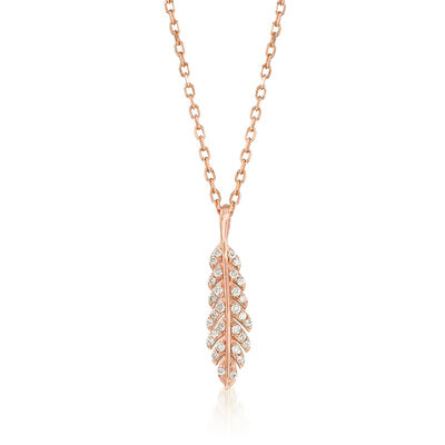 .12 ct. t.w. Diamond Feather Pendant Necklace in 14kt Rose Gold, , default