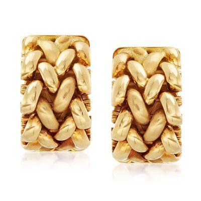 C. 1997 Vintage Tiffany Jewelry 18kt Yellow Gold Basketweave Mesh Earrings, , default
