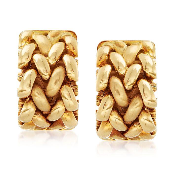 C. 1997 Vintage Tiffany Jewelry 18kt Yellow Gold Basketweave Mesh Earrings , , default