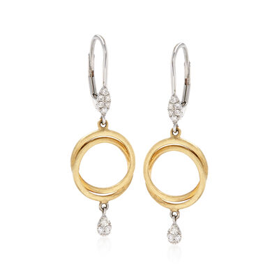 .15 ct. t.w. Pave Diamond Double Circle Drop Earrings in 14kt Two-Tone Gold, , default