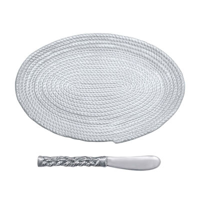 "Mariposa ""High Seas"" Rope Ceramic Oval Plate with Rope Spreader, , default"