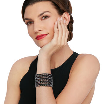 "Hematite Bead Wide Stretch Bracelet. 7"""