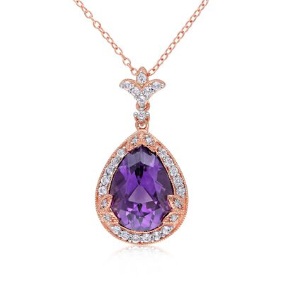 4.50 Carat Amethyst and .70 ct. t.w. White Topaz Necklace with Diamonds in 14kt Rose Gold Over Sterling, , default