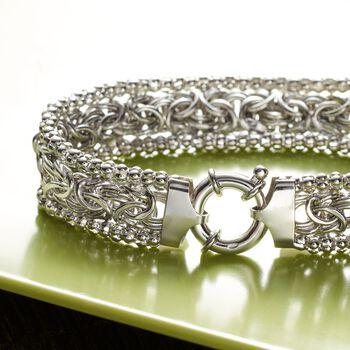 Sterling Silver Wide Beaded Byzantine Bracelet, , default