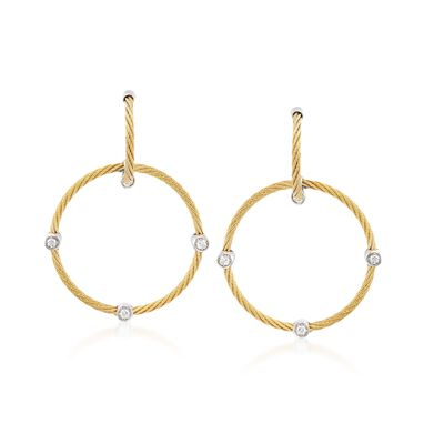 "ALOR ""Classique"" Yellow Cable Circle Drop Earrings With Diamond Accents and 18kt White Gold, , default"