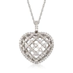 "C. 2000 Vintage 2.65 ct. t.w. Diamond Openwork Lattice Heart Pendant Necklace in 18kt White Gold. 18"", , default"