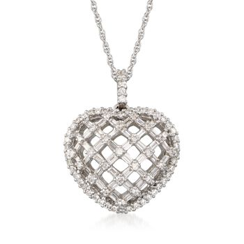 "C. 2000 Vintage 2.65 ct. t.w. Diamond Openwork Lattice Heart Pendant Necklace in 18kt White Gold. 18"", , default"