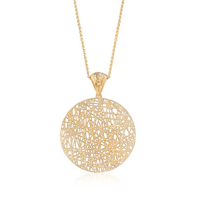 Italian 14kt Yellow Gold Openwork Disc Pendant Necklace, , default