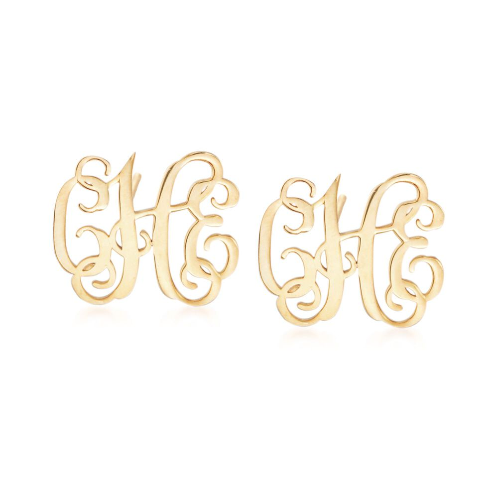 14kt Yellow Gold Small Monogram Earrings Default