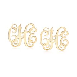 14kt Yellow Gold Small Monogram Earrings, , default