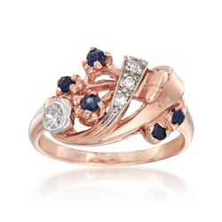 C. 1940 Vintage .18 ct. t.w. Sapphire and .17 ct. t.w. Diamond Spray Ring in 14kt Two-Tone Gold. Size 6, , default