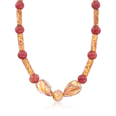 Pink and Gold Murano Glass Bead Necklace with 14kt Gold Over Sterling, , default