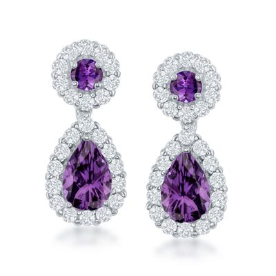 2.90 ct. t.w. Amethyst and 1.40 ct. t.w. White Topaz Drop Earrings in Sterling Silver, , default
