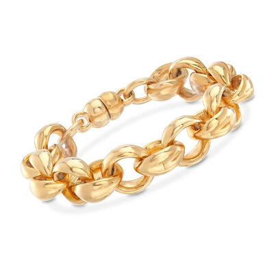 Italian Andiamo 14kt Yellow Gold Round-Link Bracelet, , default