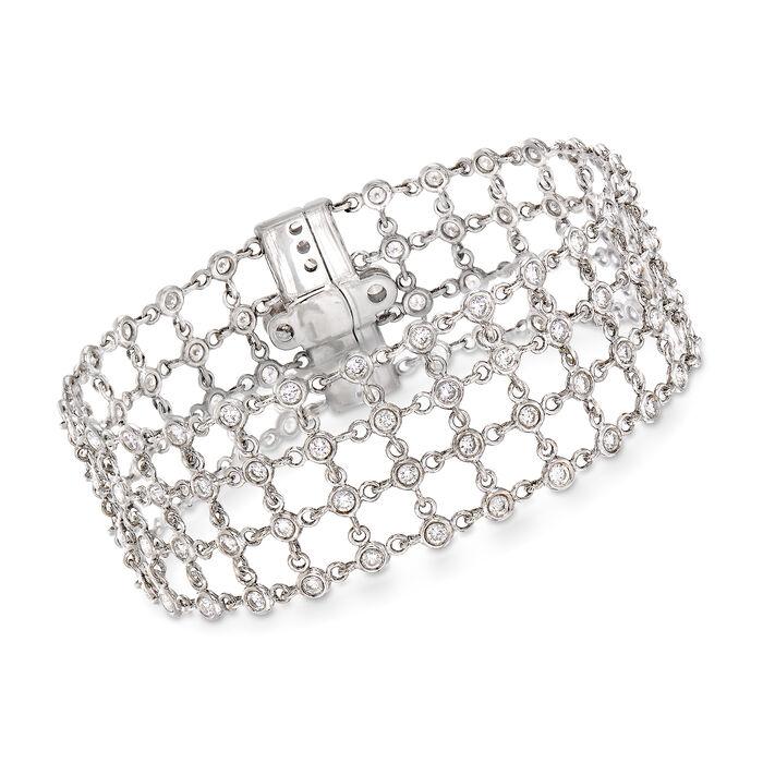 "C. 1990 Vintage 3.90 ct. t.w. Diamond Mesh-Style Bracelet in 18kt White Gold. 7"""