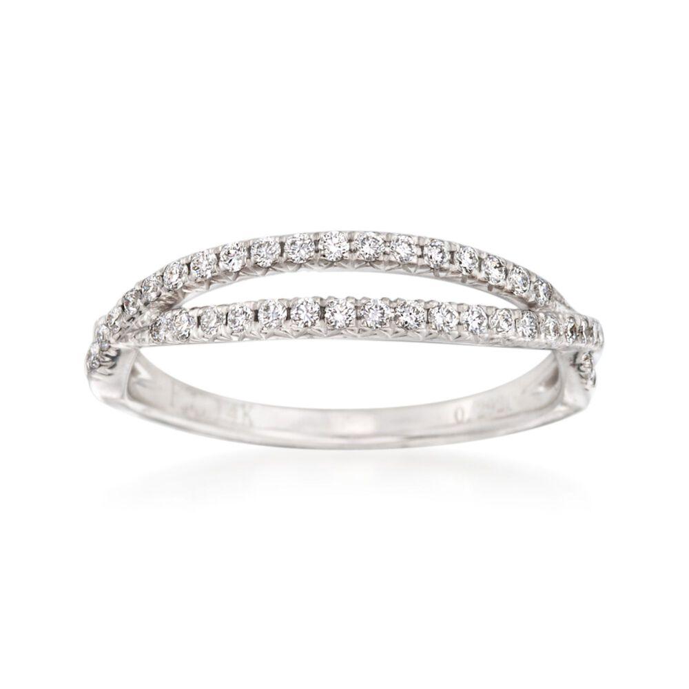 29 Ct T W Diamond Crisscross Wedding Ring In 14kt White Gold