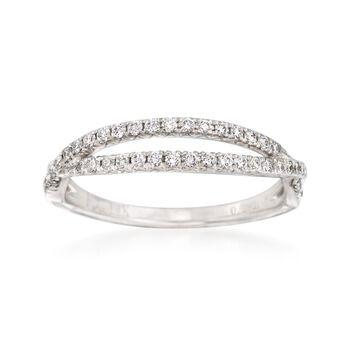 .29 ct. t.w. Diamond Crisscross Wedding Ring in 14kt White Gold, , default