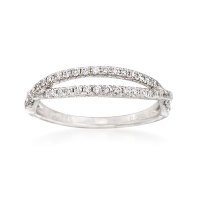 .29 ct. t.w. Diamond Crisscross Wedding Ring in 14kt White Gold, , default