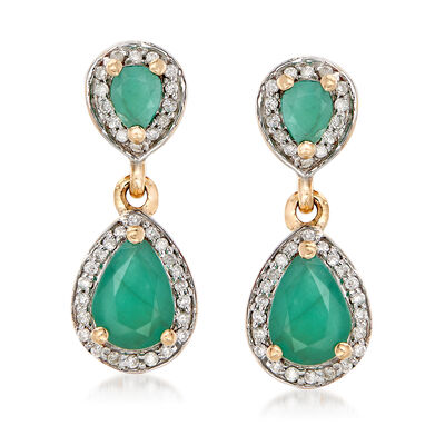 1.30 ct. t.w. Emerald and .20 ct. t.w. Diamond Drop Earrings in 14kt Yellow Gold, , default