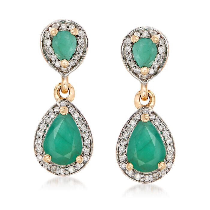1.30 ct. t.w. Emerald and .20 ct. t.w. Diamond Drop Earrings in 14kt Yellow Gold