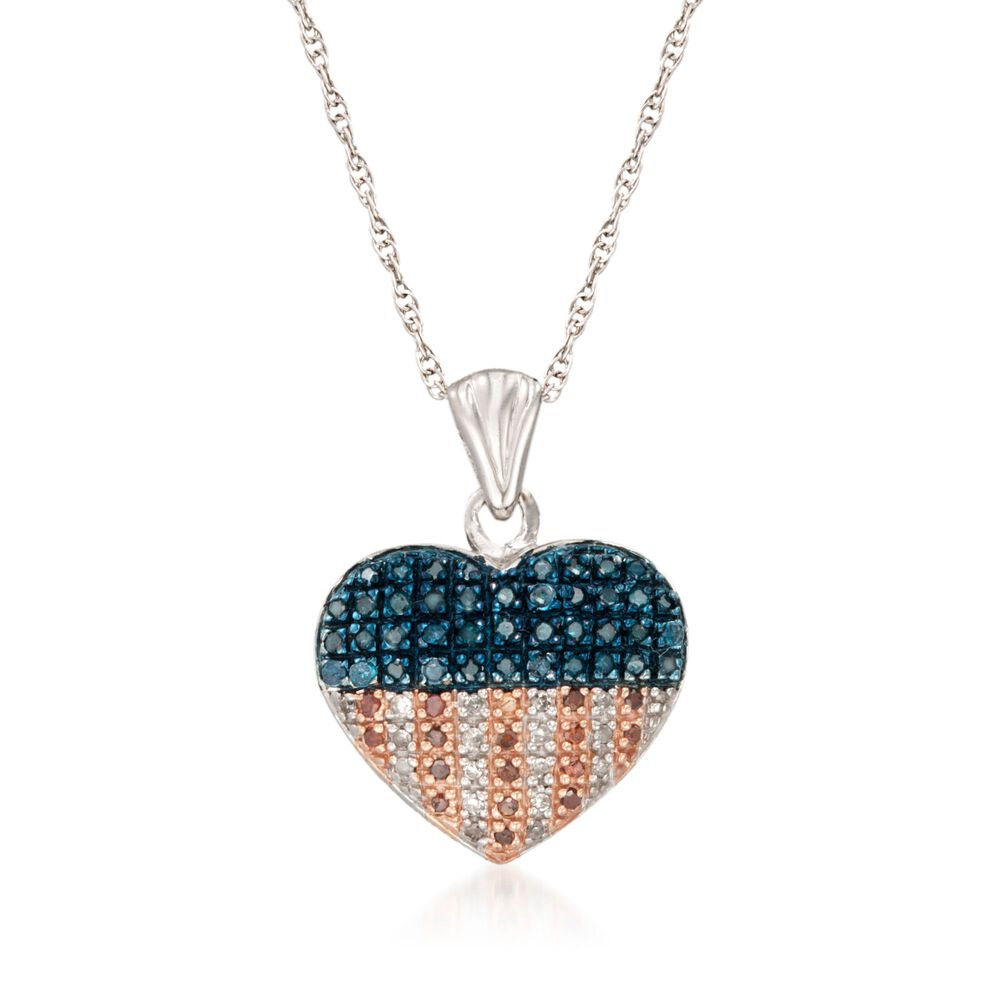 33 ct tw red white and blue diamond american flag heart pendant tw red white and blue diamond american flag heart pendant necklace mozeypictures Image collections