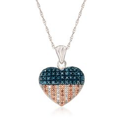 .33 ct. t.w. Red, White and Blue Diamond American Flag Heart Pendant Necklace in Sterling Silver, , default