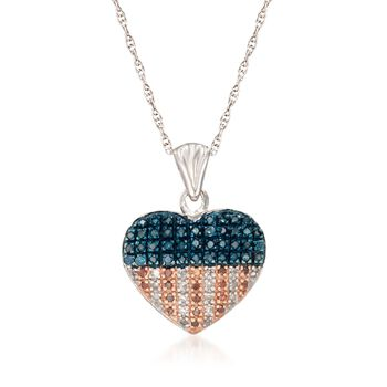 """.33 ct. t.w. Red, White and Blue Diamond American Flag Heart Pendant Necklace in Sterling Silver. 18"""", , default"""