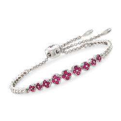 .80 ct. t.w. Ruby Bolo Bracelet in Sterling Silver, , default