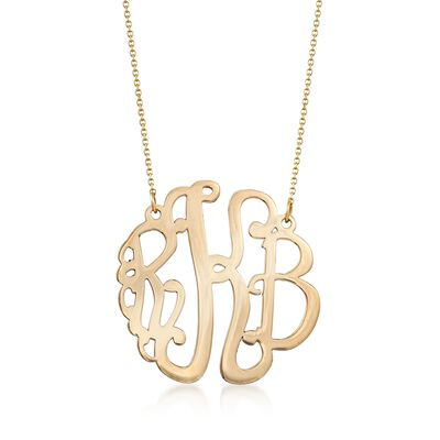 14kt Yellow Gold Medium Script Monogram Necklace, , default