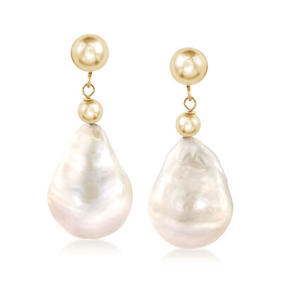 12-14 Cultured Baroque Pearl Drop Earrings in 14kt Yellow Gold, , default