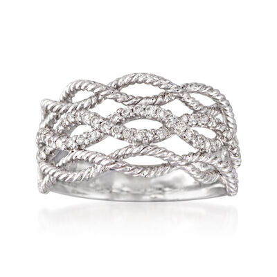 Gabriel Designs .39 ct. t.w. Diamond Woven Three-Row Ring in 14kt White Gold, , default