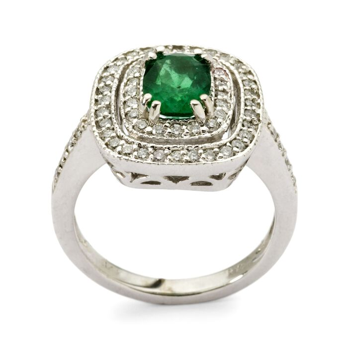 1.20 Carat Emerald and .55 ct. t.w. Diamond Ring in 14kt White Gold, , default