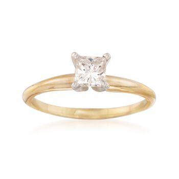 C. 1990 Vintage .45 Carat Princess-Cut Diamond Solitaire Engagement Ring in 14kt Yellow Gold. Size 6, , default