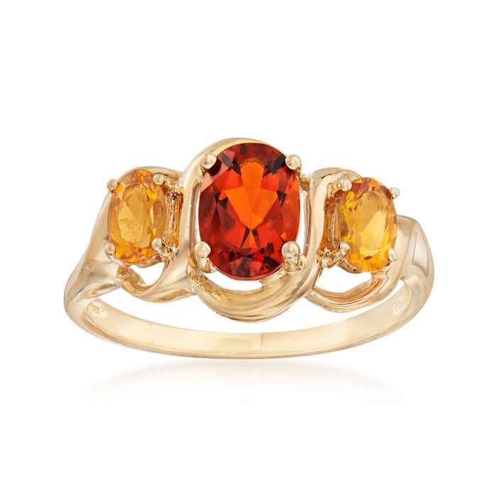 C. 1990 Vintage Three-Stone 1.25 ct. t.w. Citrinering in 10kt Yellow Gold . Size 6, , default
