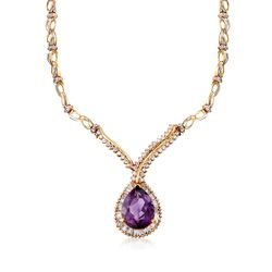 "C. 1970 Vintage 13.00 Carat Amethyst and 3.40 ct. t.w. Diamond Drop Necklace in 10kt Yellow Gold. 15""  , , default"
