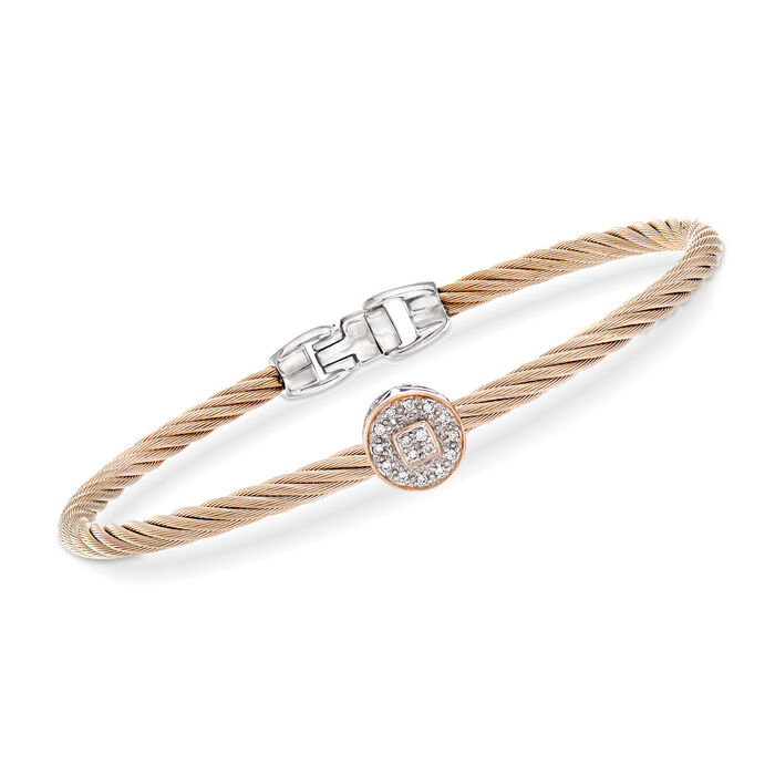 """ALOR """"Shades of Alor"""" Blush Carnation Cable Station Bracelet with Diamond Accents in Stainless Steel and 18kt White and Rose Gold . 7"""", , default"""