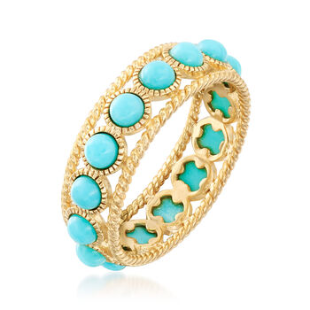 Simulated Turquoise Ring in 18kt Gold Over Sterling Silver, , default