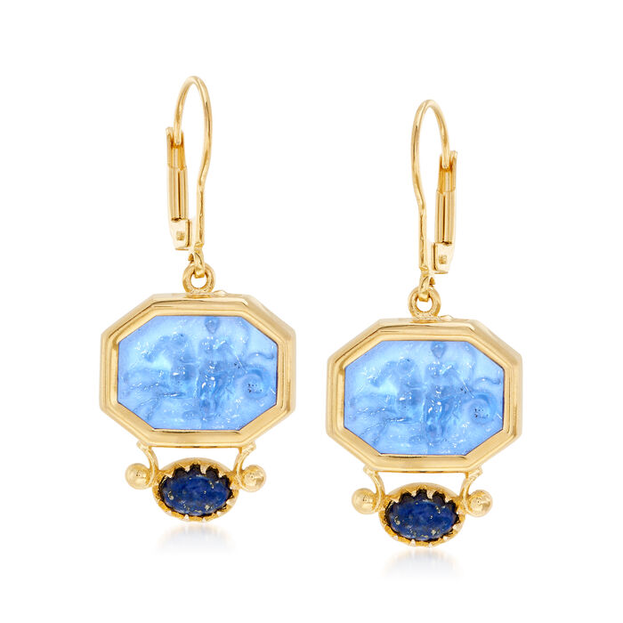 Italian 7x5mm Lapis and 16x12mm Blue Glass Venetian Cameo Drop Earrings in 18kt Gold Over Sterling , , default