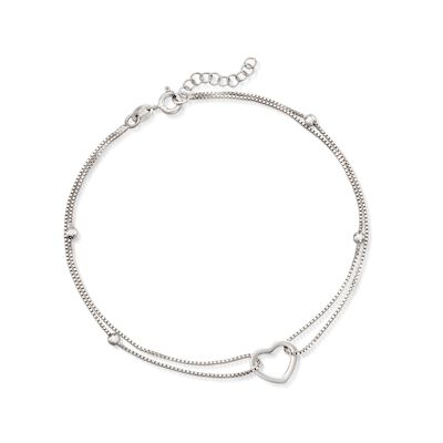 Sterling Silver Heart and Bead Anklet, , default