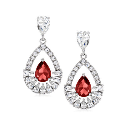 6.55 ct. t.w. White Topaz and 1.50 ct. t.w. Garnet Drop Earrings in Sterling Silver, , default
