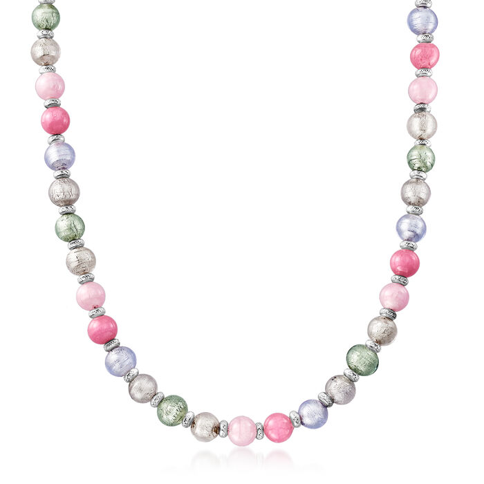 Italian Murano Glass and Sterling Silver Beaded Necklace, , default