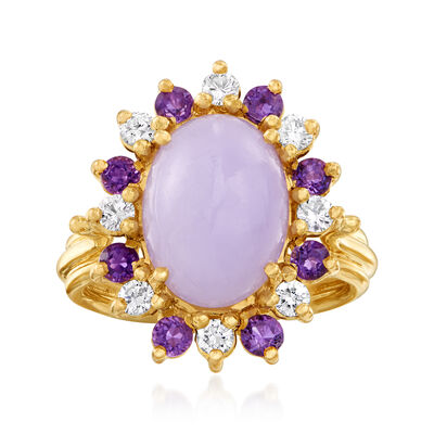 C. 1980 Vintage Purple Jade, .50 ct. t.w. Amethyst and .40 ct. t.w. Diamond Ring in 14kt Yellow Gold, , default