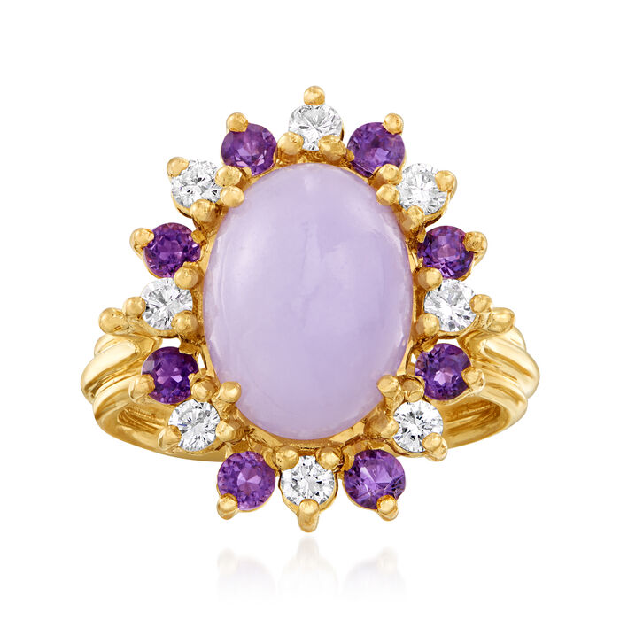 C. 1980 Vintage Purple Jade, .50 ct. t.w. Amethyst and .40 ct. t.w. Diamond Ring in 14kt Yellow Gold. Size 6