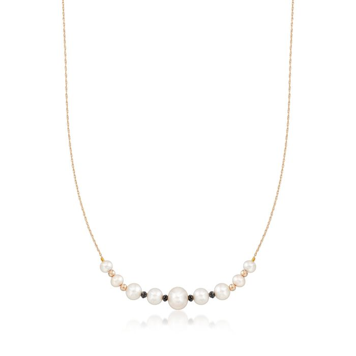 5-9.5mm Cultured Pearl and .63 ct. t.w. Black Diamond Necklace in 14kt Yellow Gold, , default