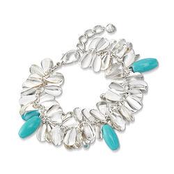 Green Glass Bead Leaf Bracelet in Silvertone, , default