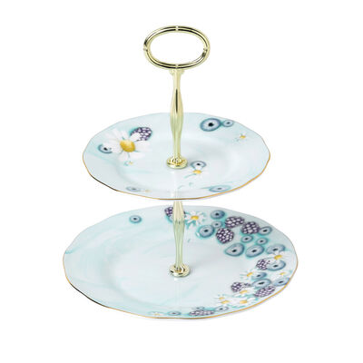 "Royal Albert ""Alpha Foodie"" Two-Tier Cake Stand in Turquoise, , default"