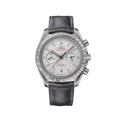 Omega Speedmaster Gray Moon Men's 44.25mm Gray Ceramic Watch with Gray Leather Strap, , default