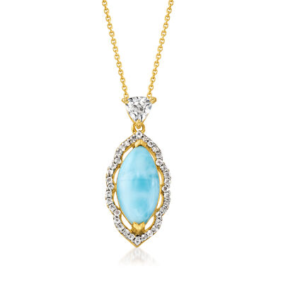 Larimar and .60 ct. t.w. White Topaz Necklace in 18kt Gold Over Sterling