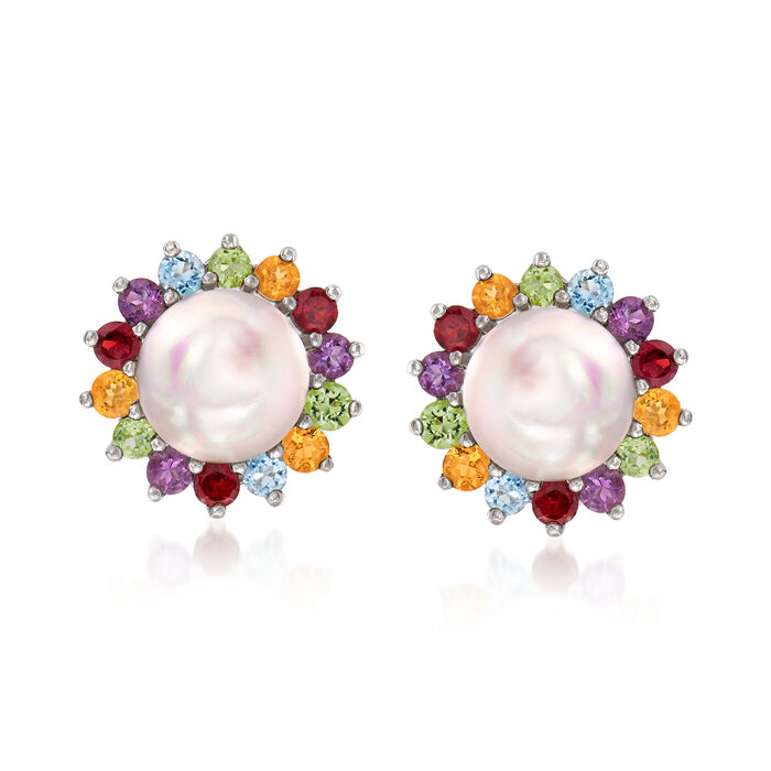 9-9.5mm Cultured Pearl and 1.00 ct. t.w. Multi-Gemstone Earrings in Sterling Silver