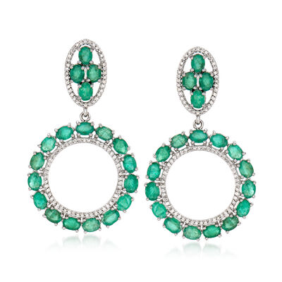 5.50 ct. t.w. Emerald and .43 ct. t.w. Diamond Circle Drop Earrings in 14kt White Gold, , default